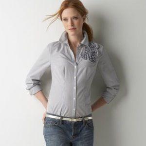 Ann Taylor LOFT Pinstripe Button Down Shirt Size 4